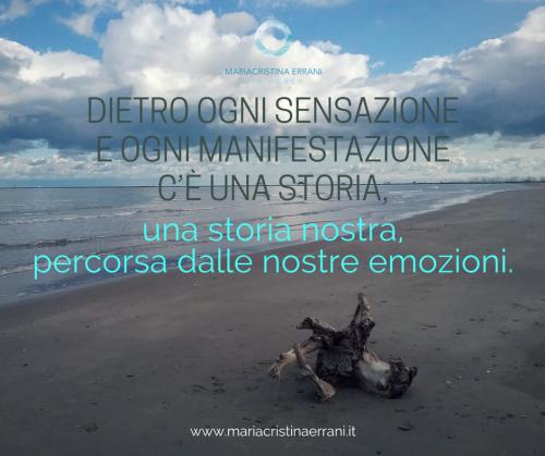 Tronco abbandonato in spiaggia con frase: dietro ogni sensazione e ogni manifestazione c'è una storia, una storia nostra, percorsa dalle nostre emozioni.